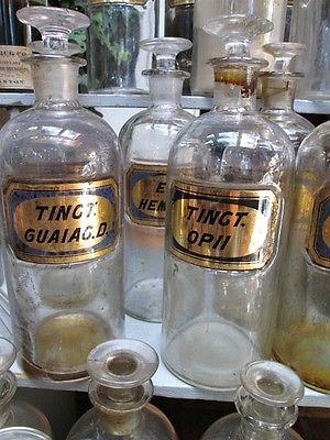 Vintage 77 APOTHECARY BOTTLES,Jars,Gold Leaf GLASS LABELS,2