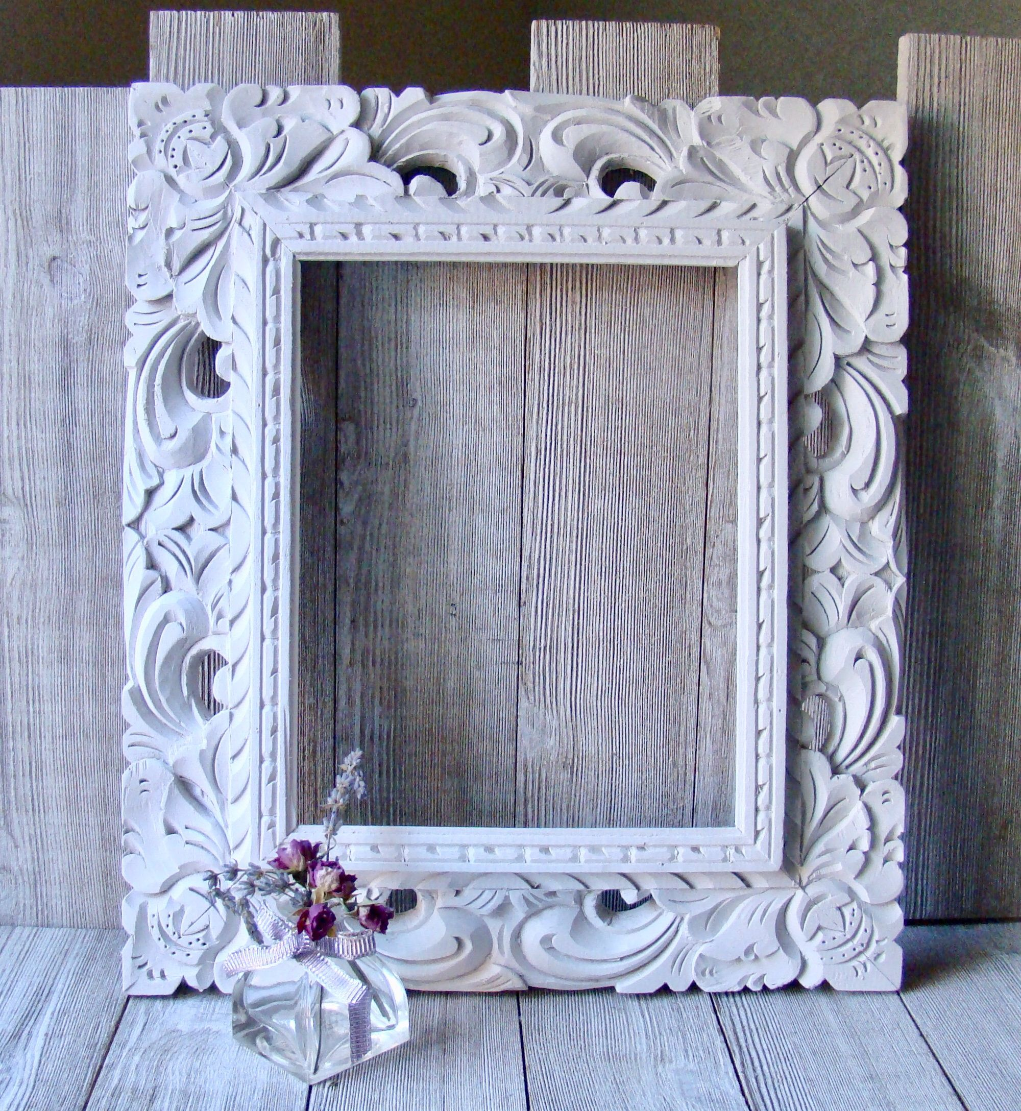 8 X 10 White Hand Carved Rustic Wood Frame Open Frame No Glass Or Backing Rustic Frames Rustic Wood Frame Carved Wood Frame