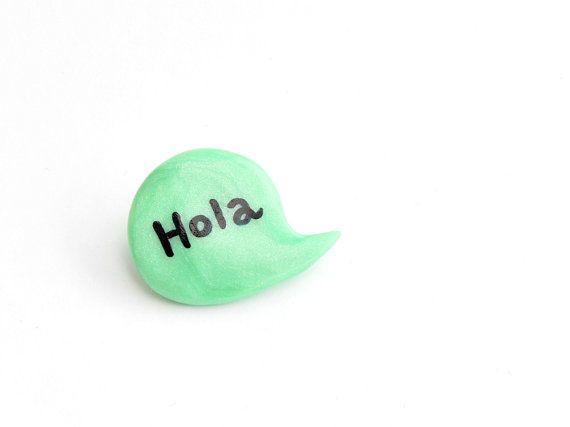 Green mint brooch speech bubble polymer clay pin by madamaRobe, €10.00