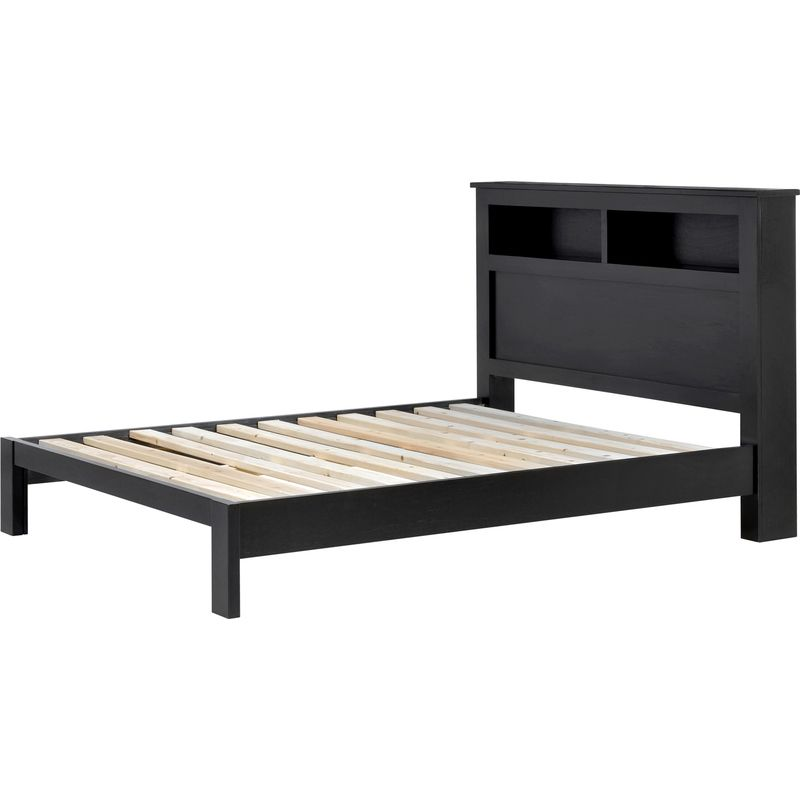 Carolyn Queen Pine Timber Storage Bed Frame Black | Buy Queen Bed ...