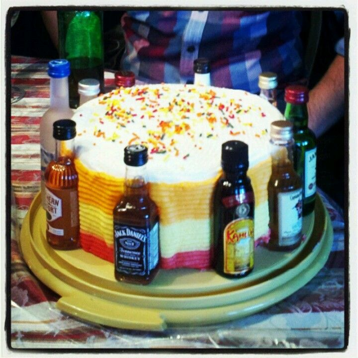 21st birthday cake with mini bottles of alcohol Parties