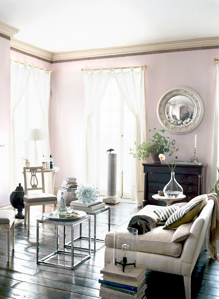 Living room - eclectic styling, pink walls | color: PASTEL PINK ...
