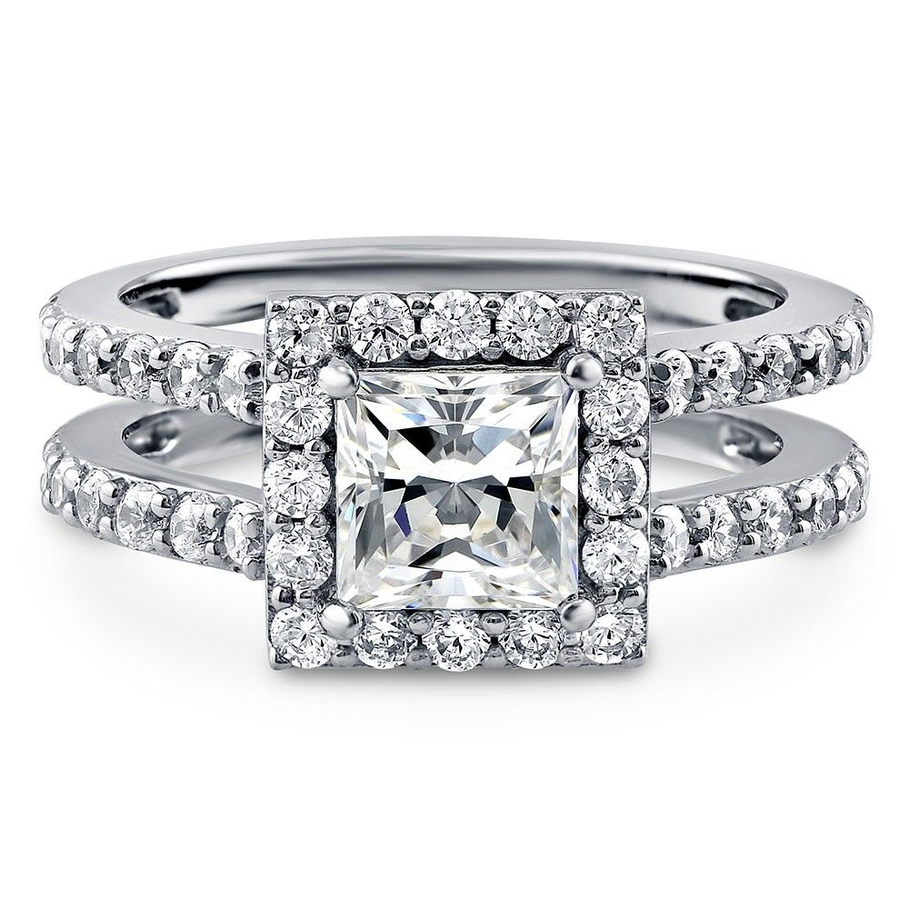 Sterling Silver Princess CZ Halo Ring 2 CTW Sterling