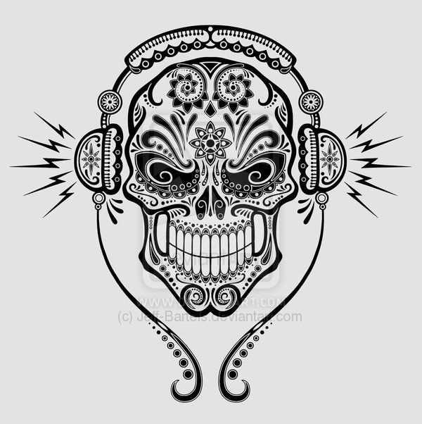 coloring page skull sugar mexican candy dj sugar skull by jeff bartels on deviantart