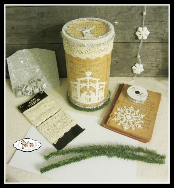 Creative diy gift wrap ideas: Oatmeal Container & Old Hymnal Repurpose - Patina Paradise