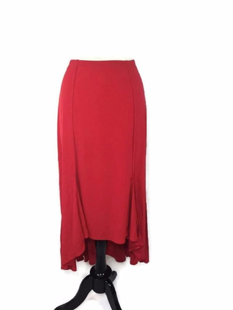 NEW CHICO'S Red Maxi Skirt Size 1 = 8/10 Womens High Low Stretch Long Solid NWT #Chicos #Maxi