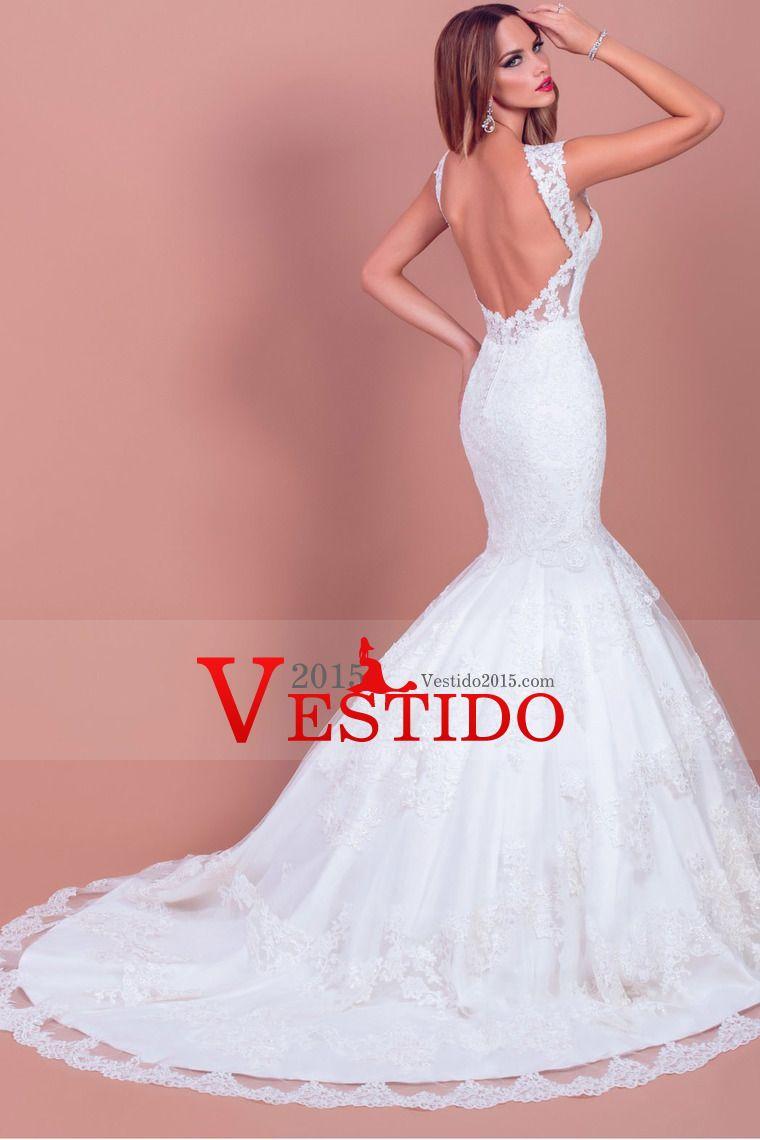 2015 correas de la sirena / trompeta Vestidos de boda de tul con ...