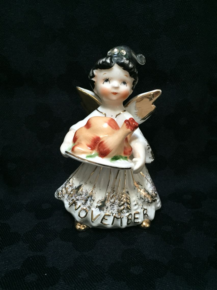 Vintage Thanksgiving Angel November Figurine Vintage
