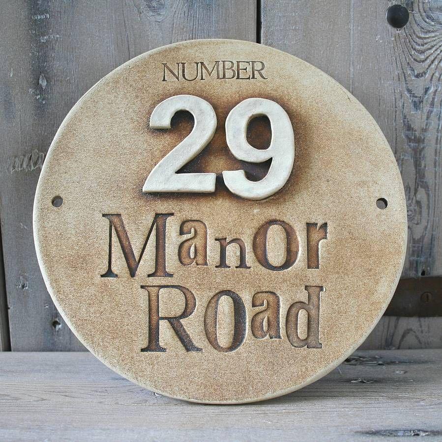 round ceramic house address sign clay ceramic houses. Black Bedroom Furniture Sets. Home Design Ideas