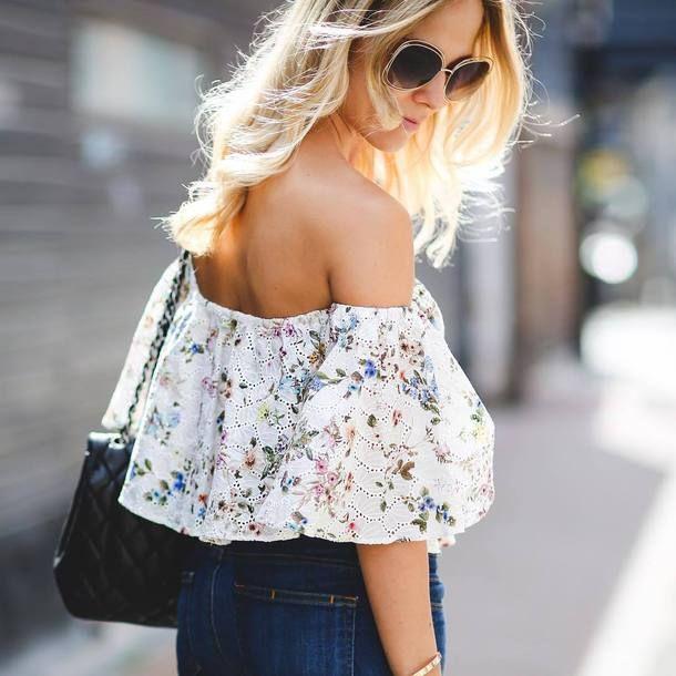 7be90322e66 Sunglasses: off the shoulder top tumblr off the shoulder floral floral top  eyelet top jeans blue