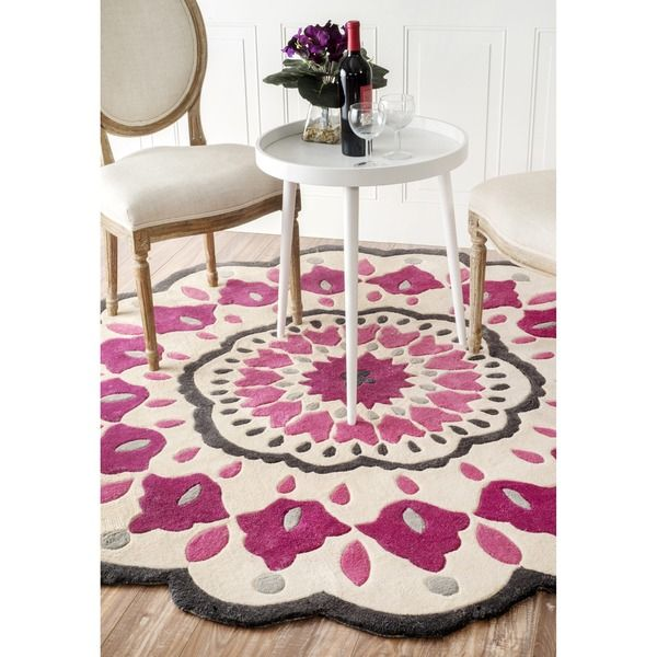 NuLOOM Handmade Fin Raya Floral Round Rug   Overstock™ Shopping   Great  Deals On Nuloom