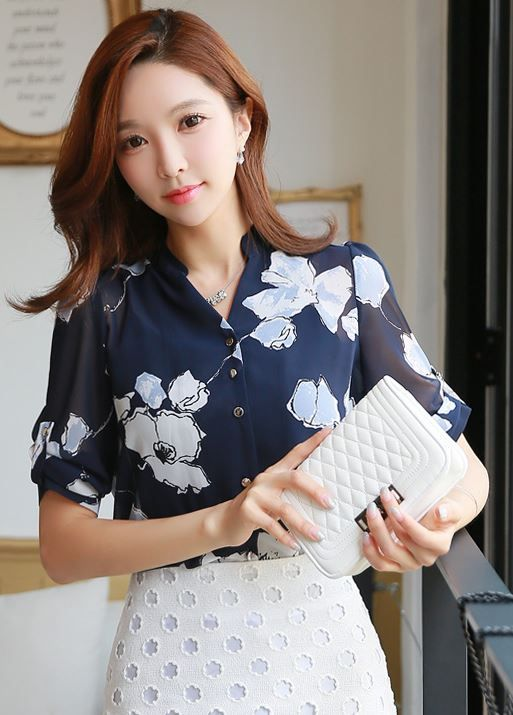 StyleOnme_Floral Print Mandarin Collar Chiffon Blouse #flowers #navy #white #summer #elegant #koreanfashion #feminine #formal