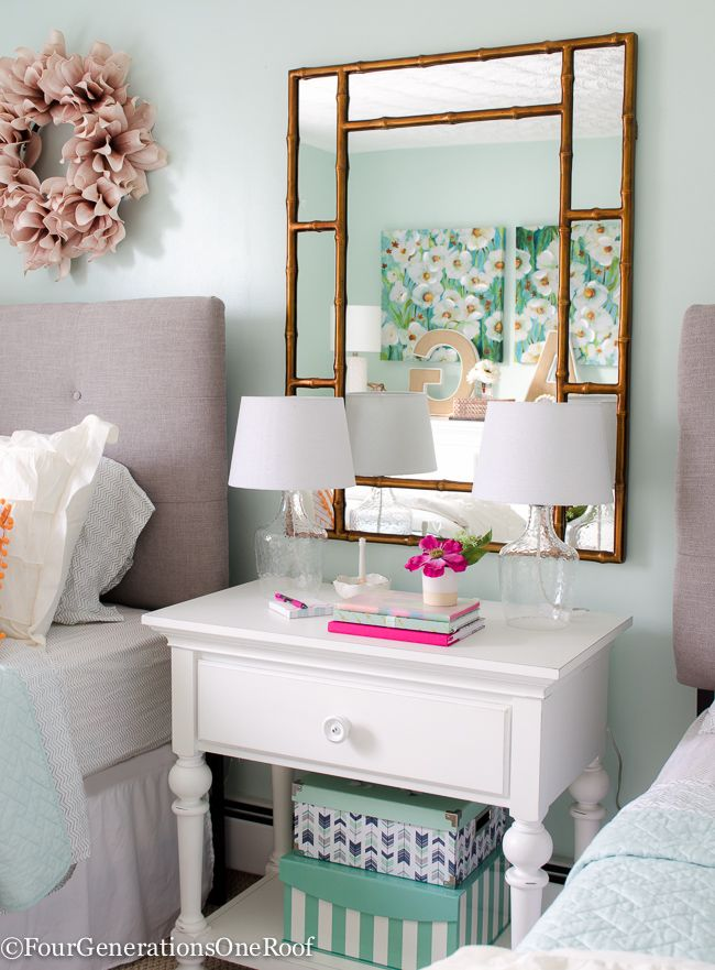 Sophisticated Girls Bedroom Teen Makeover | Bedrooms, Night table ...