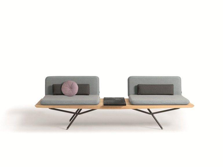 Panca in iroko con schienale Collezione San by MANUTTI design Lionel ...