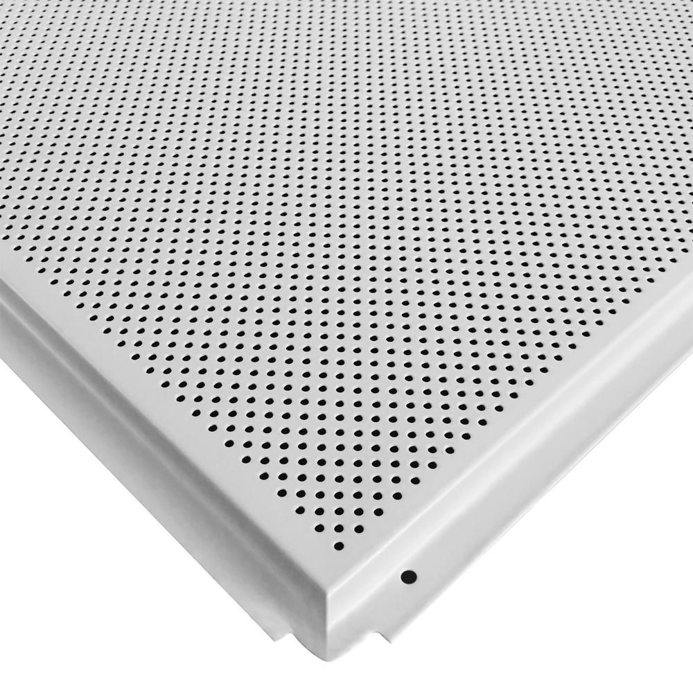Toptile White 2 Ft X 2 Ft Perforated Metal Ceiling Tiles Case Of 10 Hcw55108 The Home Depot Metal Ceiling Metal Ceiling Tiles Perforated Metal