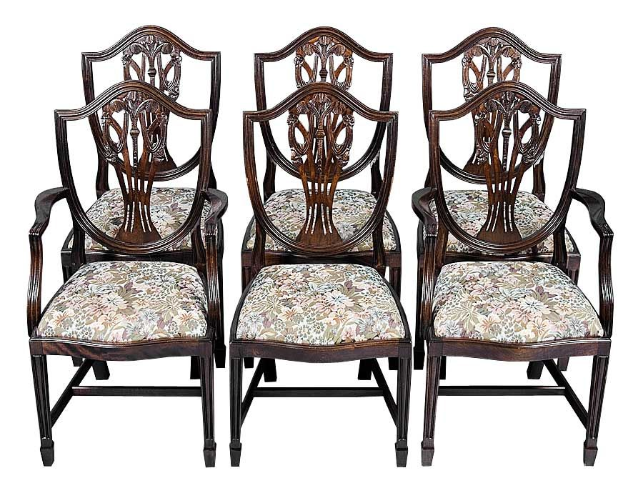 Six Shield Back Dining Chairs in Mahogany - English Classics - Hypnotic Antique Sheraton Dining Room Chairs From Antique Chair