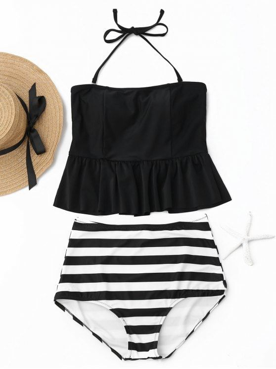 c95695f64b Up to 80% OFF! Striped Peplum High Waisted Tankini Set. #Zaful #Swimwear # Bikinis zaful,zaful outfits,zaful dresses,spring outfit… | Beach & Pool  Style