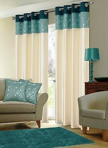 Details About Ready Made Ring Top Eyelet Curtains Faux Silk Fully