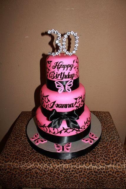 Outstanding Pink Black 30Th Birthday Cake 30 Birthday Cake 30Th Birthday Birthday Cards Printable Riciscafe Filternl