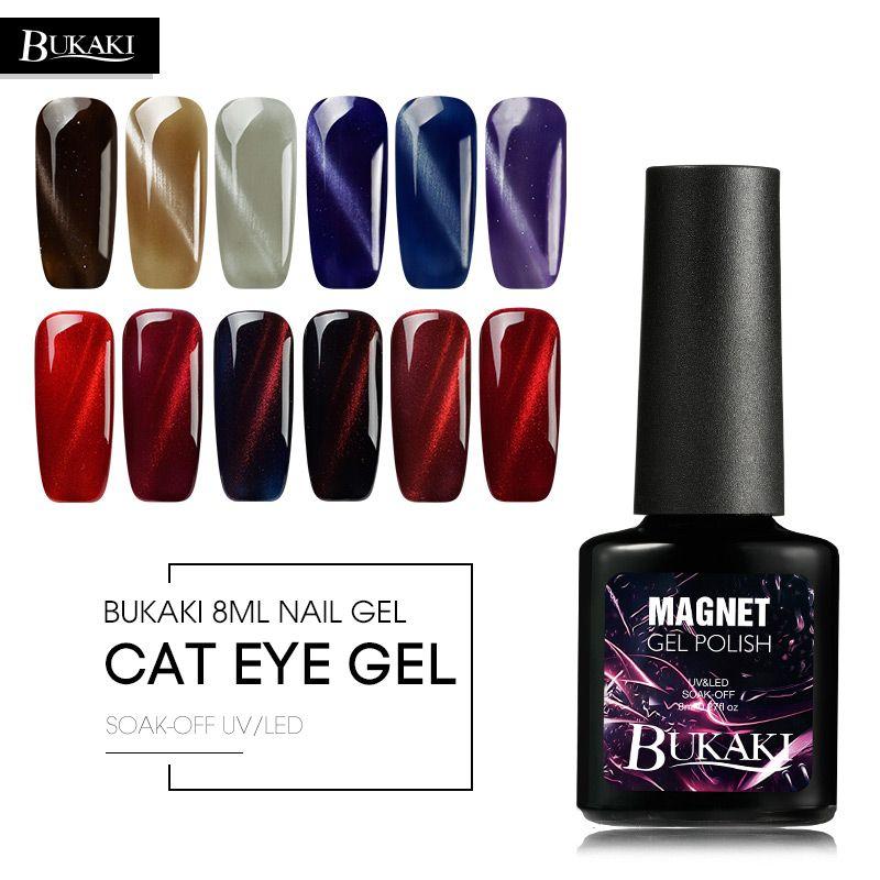 BUKAKI 3D Cat Eyes Effect Magnetic Nail Gel Polish Rainbow UV LED ...
