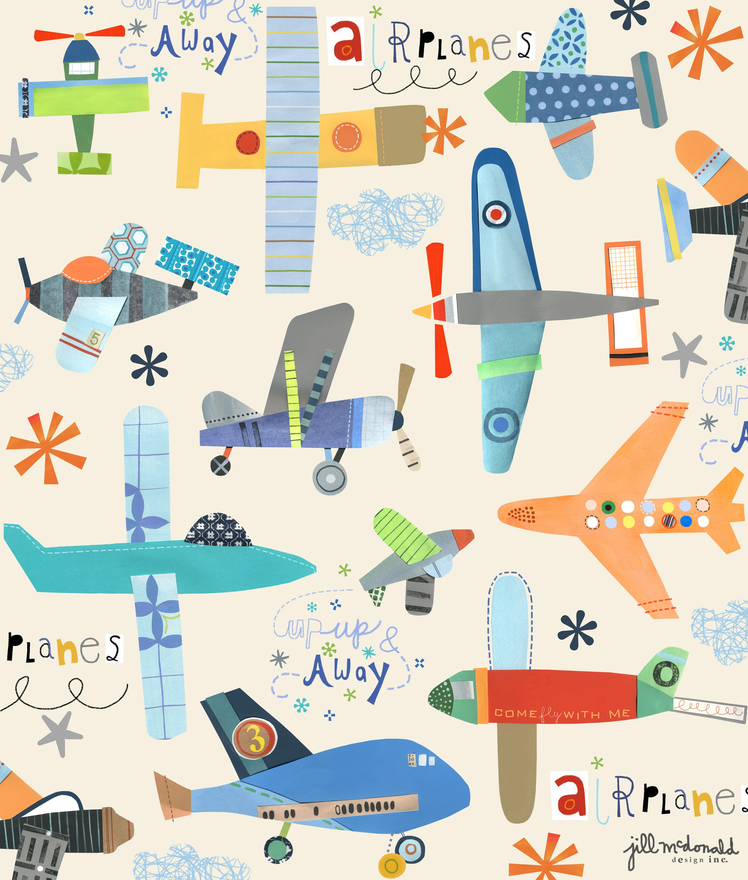 Planes print by jill mcdonald design print pattern 2 for Childrens airplane fabric