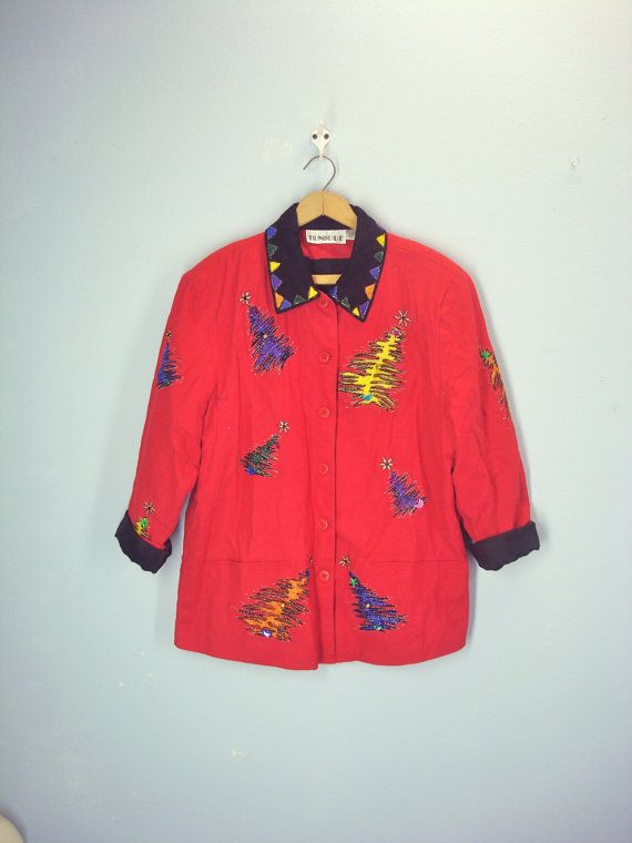 vintage ugly christmas jacket beverly goldberg by shirleyboutique - Christmas Jackets