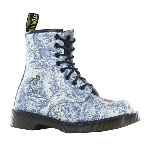 Dr.Martens 1460 Toile de Jouy Blue White Womens Boots Size 4 UK