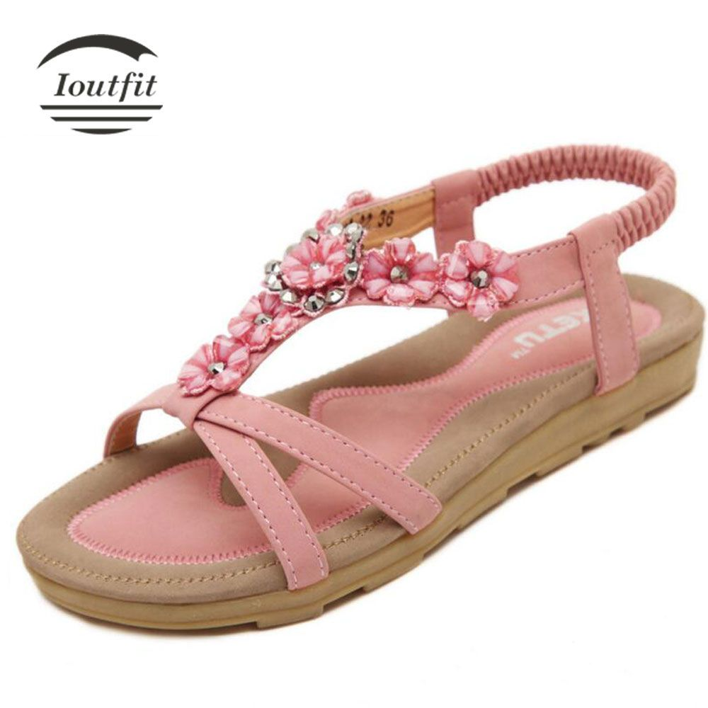 Women's Flat shoes sandals of Flowers Rhinestones Bohemia styles