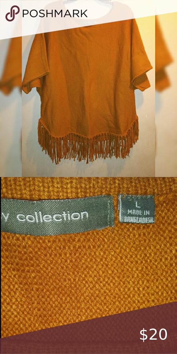 NY Collection Fringe Poncho blouse