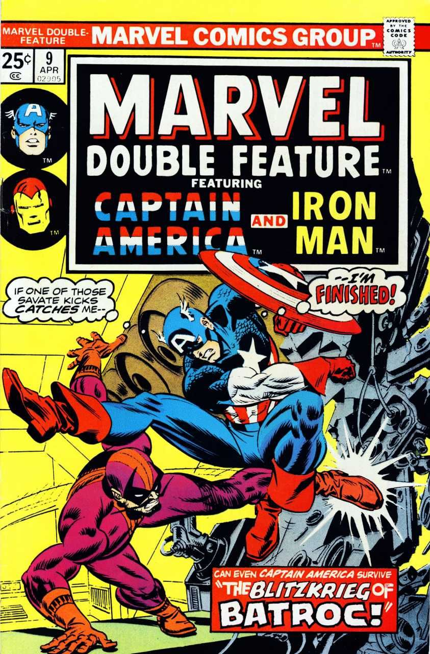 Marvel double feature 9 cover by gil kane gil kane marvel comic mmarvel double feature reprints captain america story from tales of suspense the marvel double feature comic book series reprints early iron man and captain fandeluxe Gallery
