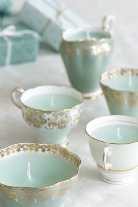 Create mood lighting with DIY candles like these, which are in gorgeous, vintage tea cups.