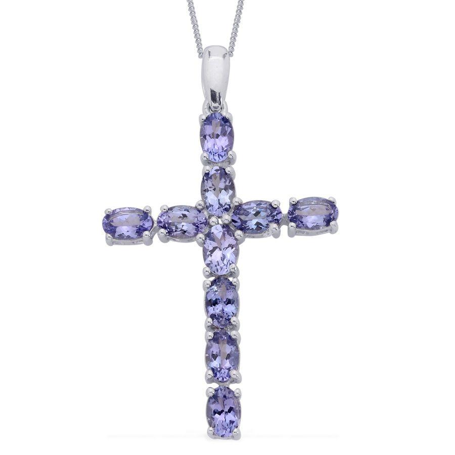 Liquidation channel tanzanite cross pendant with chain for Liquidation tv