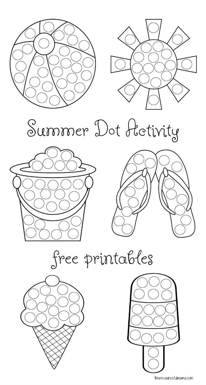 Summer Dot Activity Free Printables Business For Kids Do A Dot Preschool Crafts