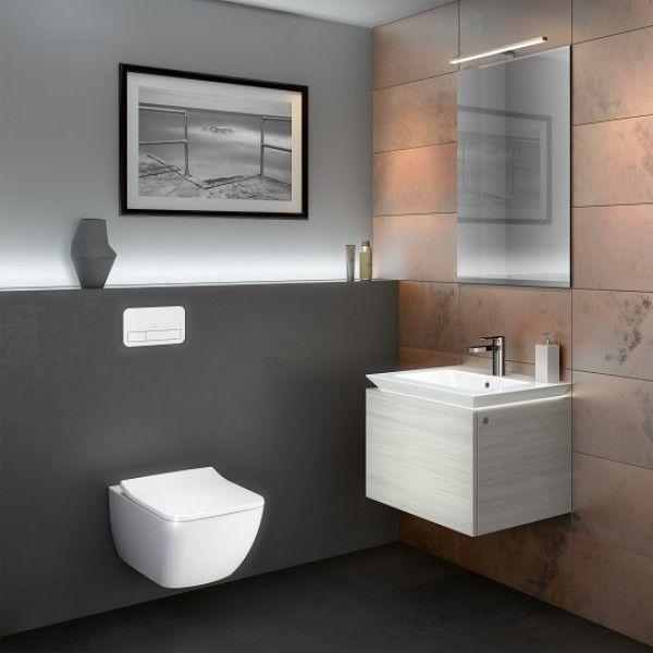 Cuarto de baño con sanitarios suspendidos y luces LED - Banium ...