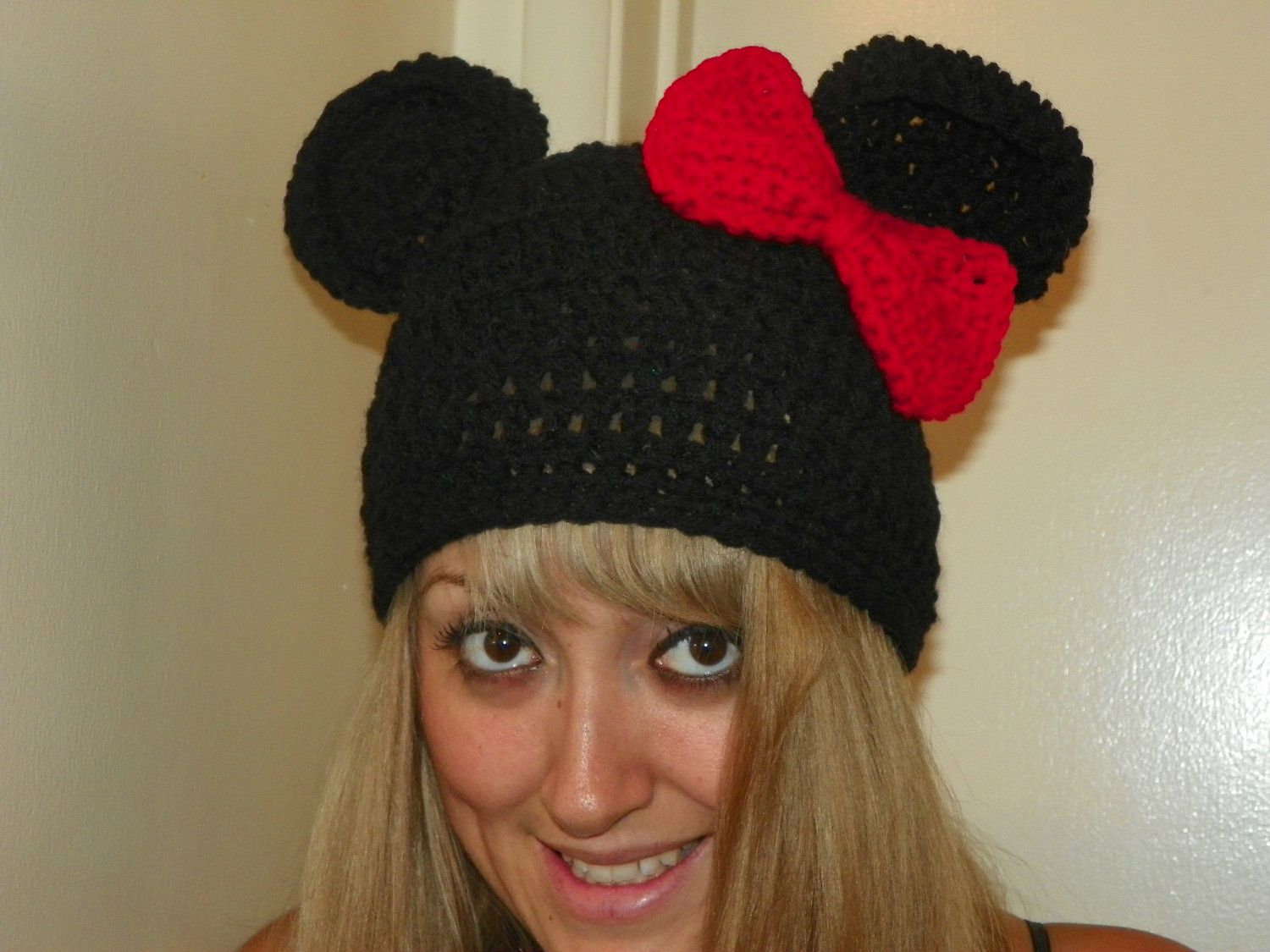 Minnie Mouse Hat with a Red Bow Minnie Mouse Beanie Hat for a Teen Adult  Hand Crochet You Could Custom Order any Size ec7f7f30e7b3