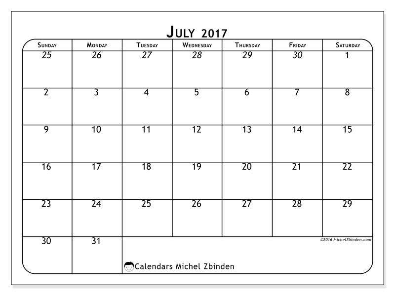 July Blank Calendar  July  Calendar    Daily