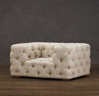 in grey velvet w teal blue pillow: Soho Tufted Upholstered Chair