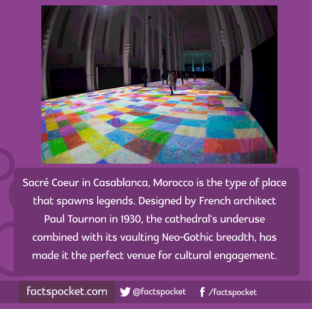 FACTS POCKET | Sacré Coeur in Casablanca, Morocco is the type of place that spawns legends. Designed by French architect Paul Tournon in 1930, the cathedral's underuse combined with its vaulting Neo-Gothic breadth, has made it the perfect venue for cultural engagement. factspocket.com
