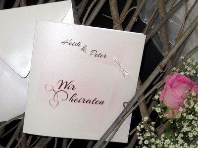 Einladungskarte zur Hochzeit in rosa und braun