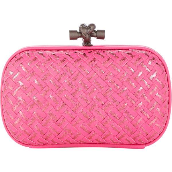 Bottega Veneta Intrecciato Placcato Clutch ($2,000) ❤ liked on Polyvore featuring bags, handbags, clutches, bottega veneta, clutches / wallets / purses, pink, print purse, woven purse, bottega veneta purse and pattern handbag
