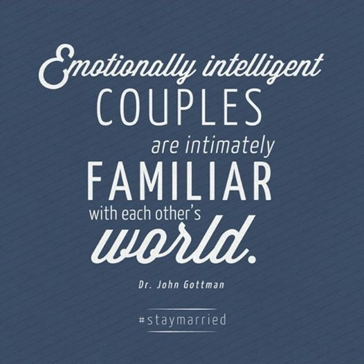 We call this having a richly detailed Love Map. Do you know what your spouse has going on today? Can you imagine what might cause them stress or bring them joy? Right now is as good a time as any to check in with them and find out. #staymarried #gottmanwisdom #chooselove