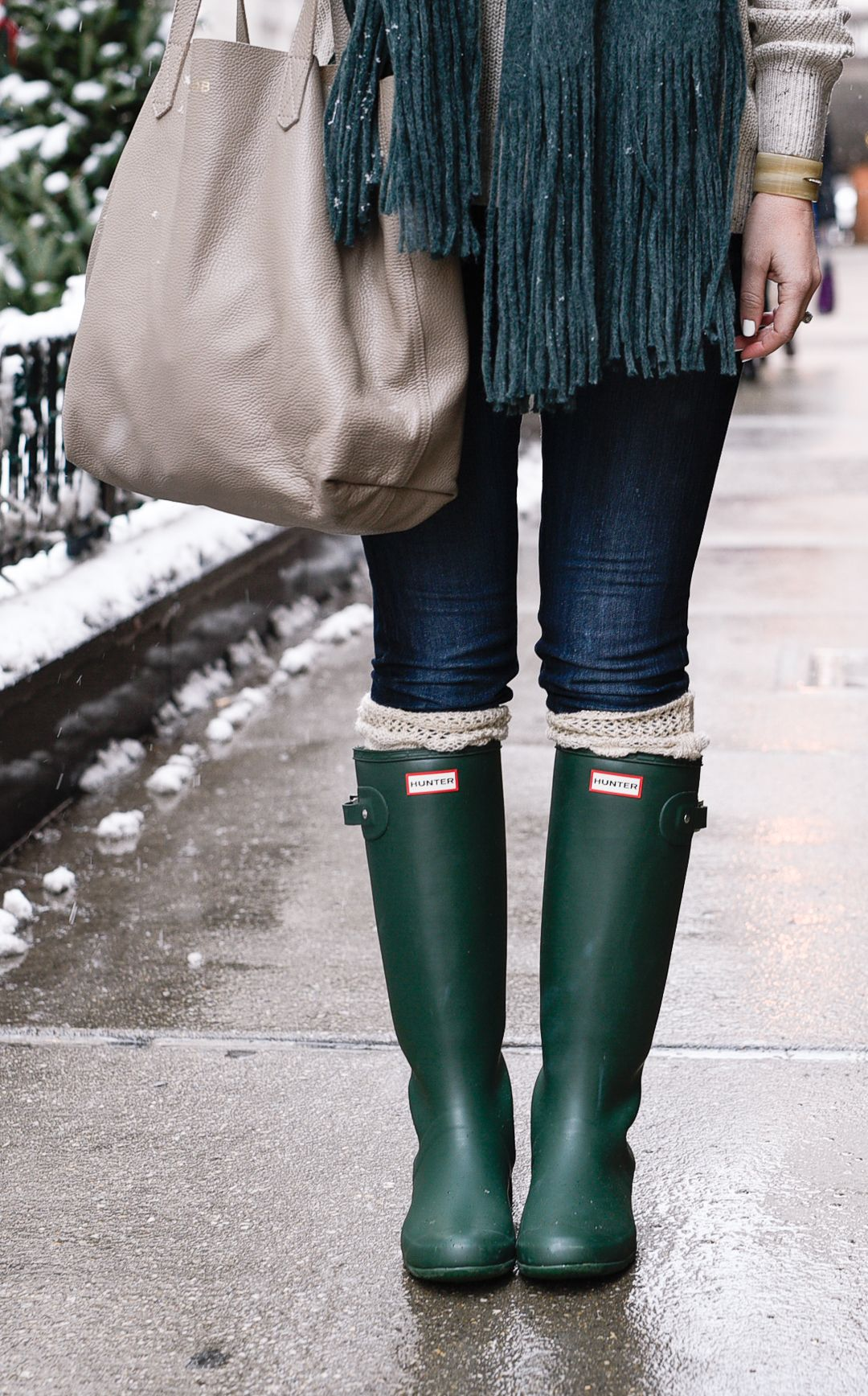 7b980c94954 Love the color of these Hunter Boots! Cozy Winter Outfits