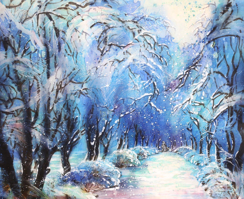 """батик """" Зима"""". Handmade. Комбинированный, Новый Год ..."""