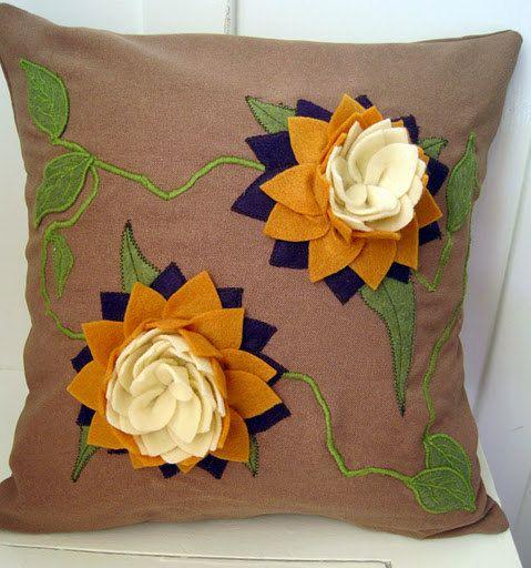 Felt Lotus Applique And Embroidered Purple By Voleedemoineaux 200 00 Diy Pillows Applique Pillows Pillows