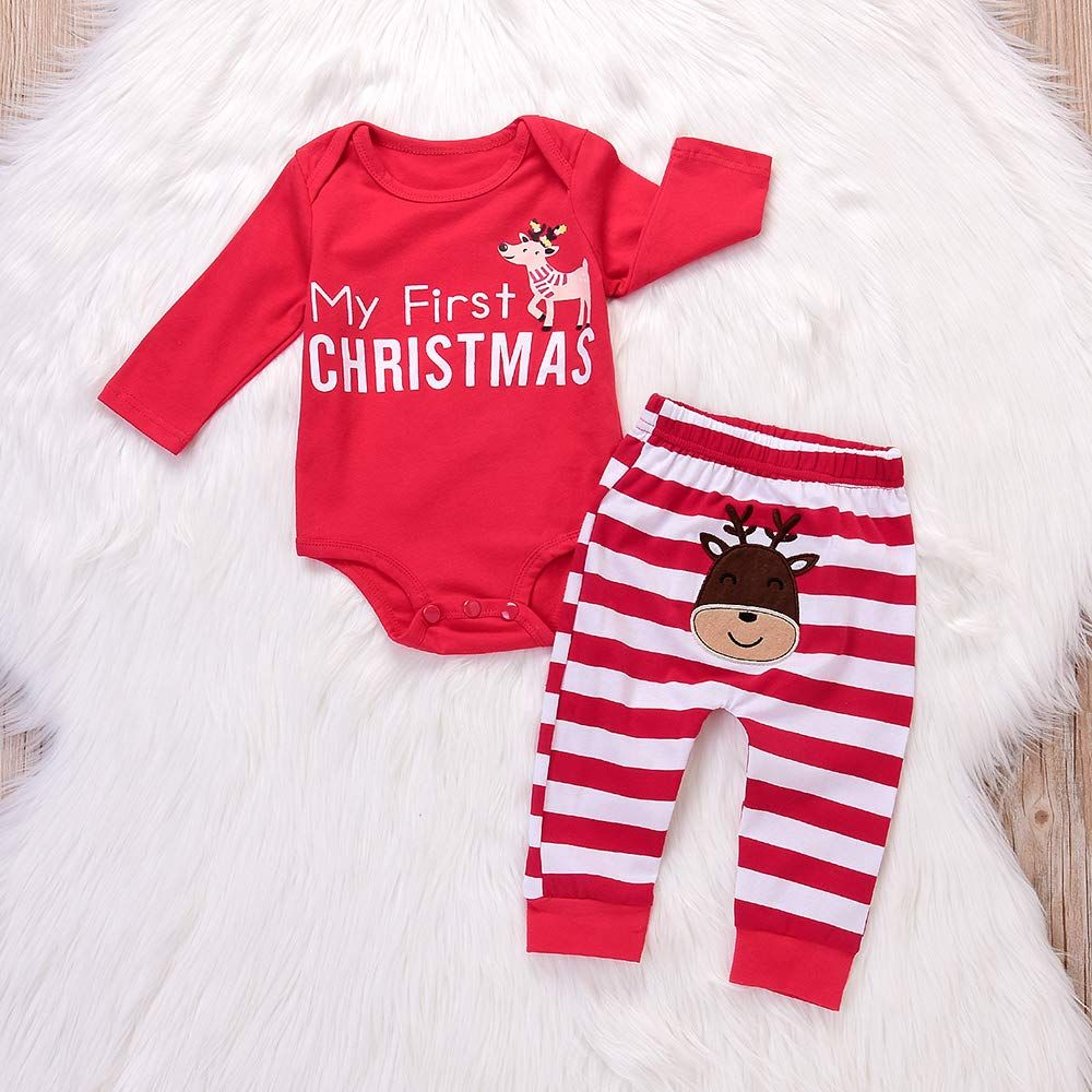fe7057bd7 Deer Red My First Christmas Long Sleeve Romper Red White Striped ...