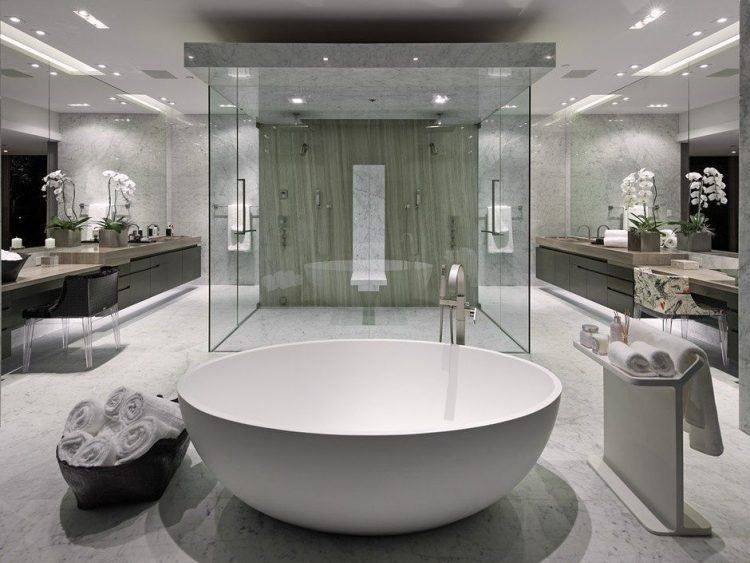 20 Bathrooms With Beautiful Round Tubs White Master Bathroom
