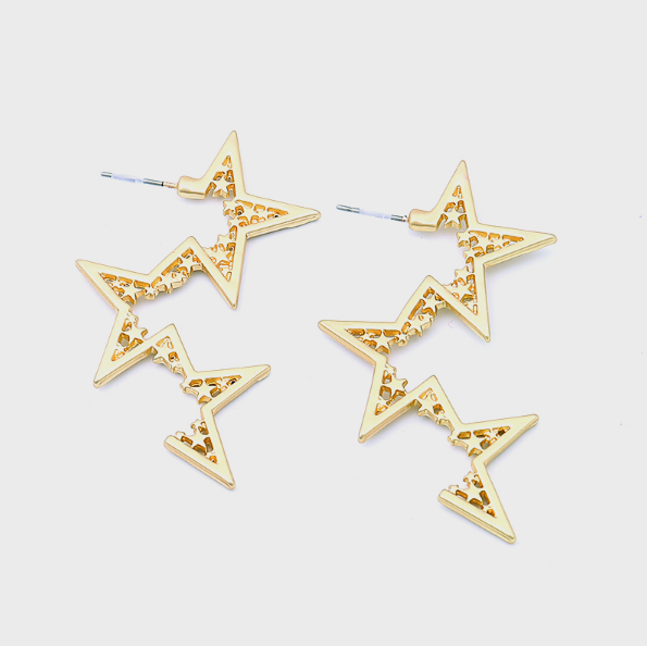 Our Falling Stars Earrings Feature A Unique Flowing Design Of Stars That Are Cascading D Minimalist Earrings Studs Gold Jewelry Sets Green Gemstones Jewelry