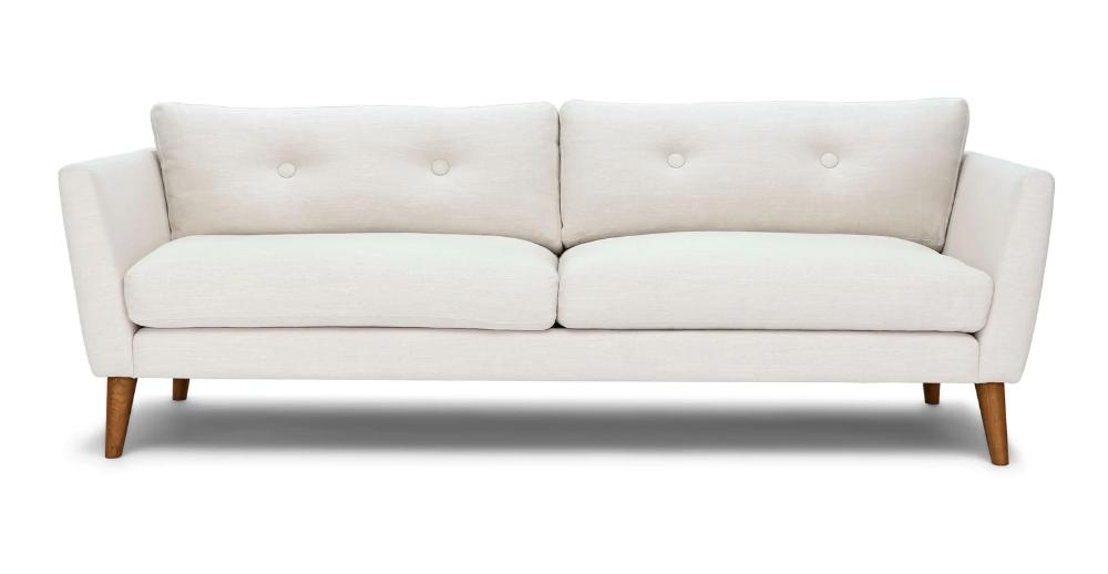 Emil Quartz White Sofa In 2020 Mid Century Modern Sofa Furniture White Sofas