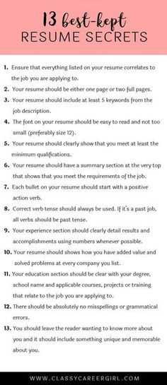 The 13 Best-Kept Resume Secrets work positive ideas etc