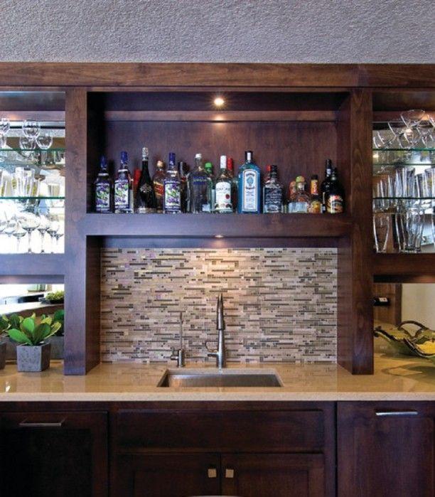 Basement Wet Bar Designs Which Beautify Your House: Basement Wet Bar Sink  With Tile Backsplash